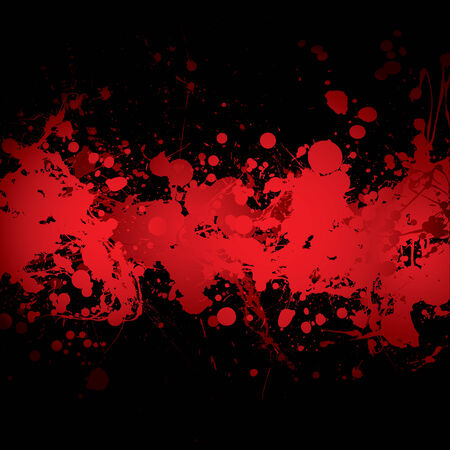 abstract blood red ink splat banner with black background