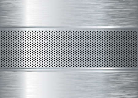 Silver metal abstract background with punched holes and brushed surface