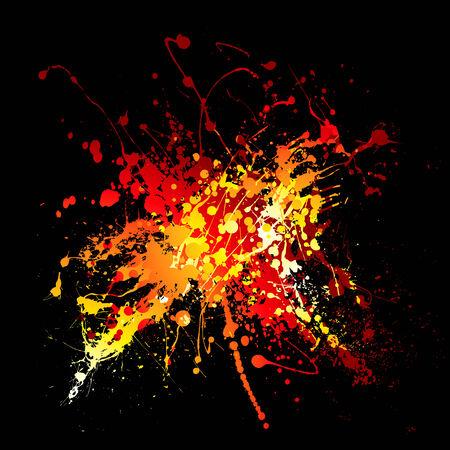 Bright red hot ink splat design with black background Иллюстрация