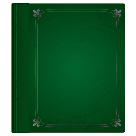 Green and silver leather bound hard backed background Stock Illustratie