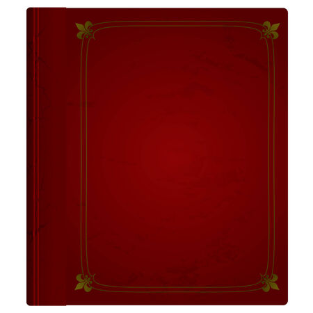 Maroon hardback book with leather cover and gold trim Stock Illustratie