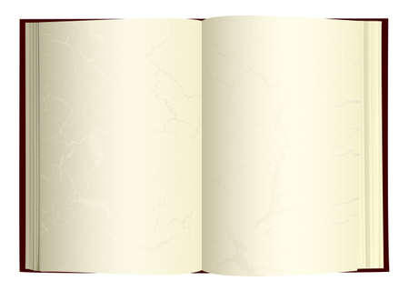 Illustrated open book with blank pages and gothic grunge Çizim