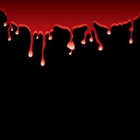 Mancha de sangre regate hacia abajo de un fondo negro con la reflexión de luz