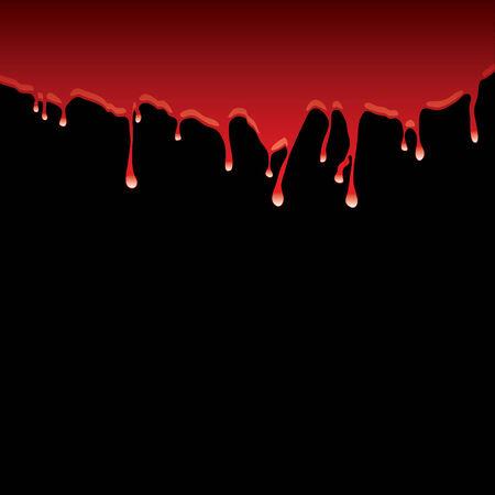 Borde superior de sangre roja con efecto de driblar y fondo negro