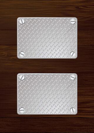 Twee zilveren anti slip metalen plaat met schroef met houten muur