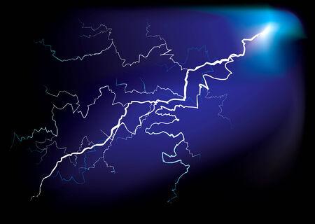 Illustrierte Blitzschlag mit ausstrahlendes Licht in Bolzen Vektorgrafik