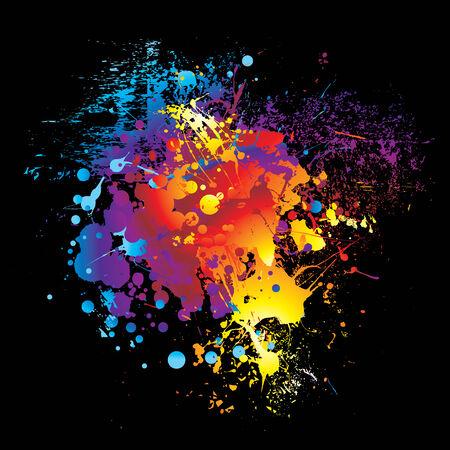 illustrated Brightly colored rainbow ink splat black background Vektoros illusztráció