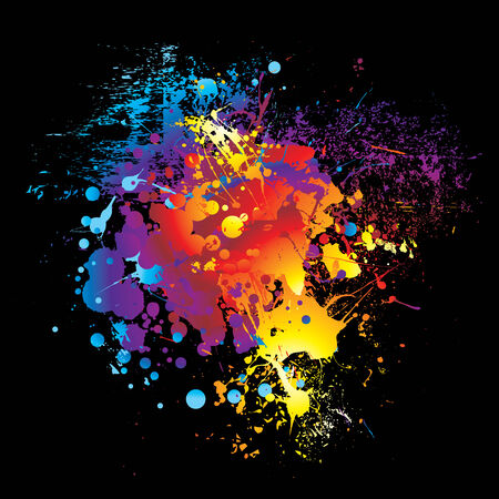 illustriert bunte Rainbow Tinte whom schwarzen Hintergrund Vektorgrafik