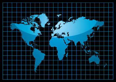 blue world map with light reflection and grid on a black background Illustration