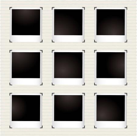 Galleria di fotografia istantanea con angolo di metallo titolari e copyspace