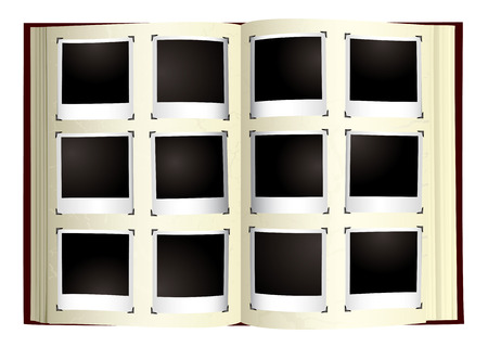 Old fashioned photo album with instant photographs Illustration
