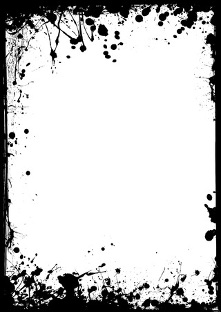 Black ink border with white center and ink splat