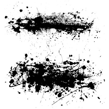 Two abstract black and white ink splat with grunge effect