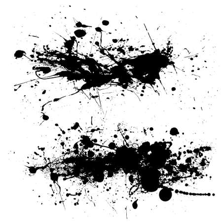 Two ink splat designs with dribble and paint spots