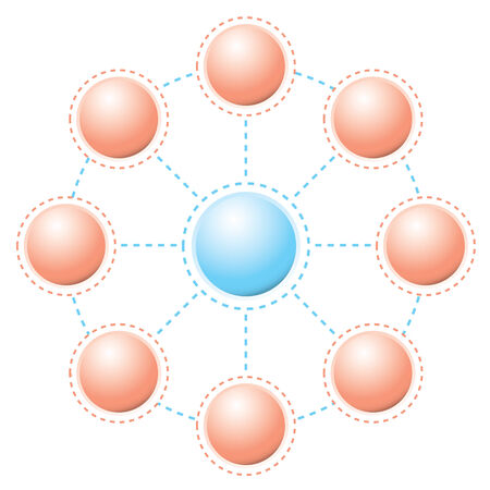 business connections with round circles and dotted lines