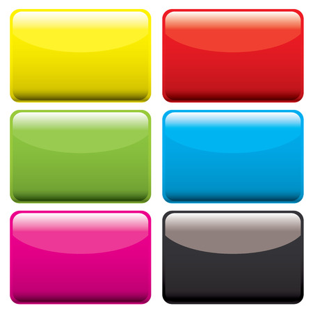 Six gel filled oblong icons with beveled edge and room to add text Illustration
