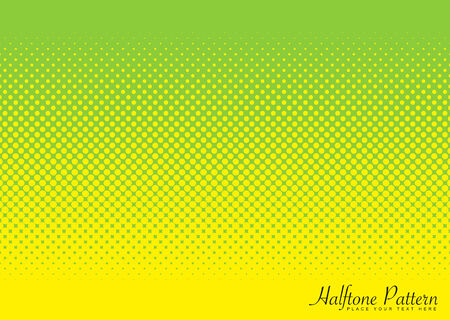Abstract halftone green and yellow background image with circular pattern Illustration