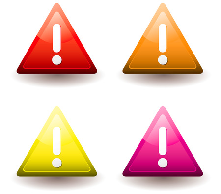 Four warning triangles with drop shadow and exclamation mark Stock Vector - 6295504