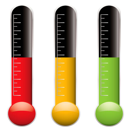 Set of three thermometers with scale and different colored indicator levels Illustration