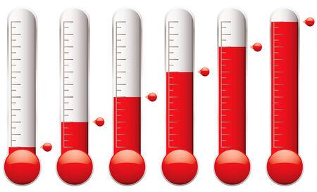 set thermometers met verschillende niveaus indicatorvloeistof