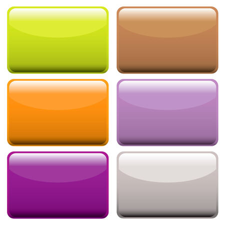 Collection of brightly colored web buttons with room to add text or icons