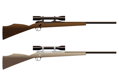 Two wooden hunting rifles with sight and wood grain
