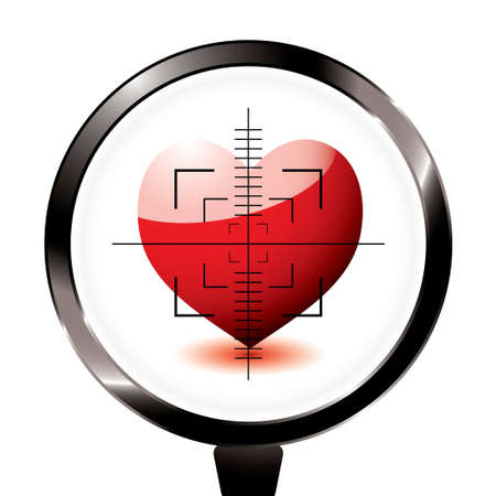 Valentines day love heart in a rifle sight concept