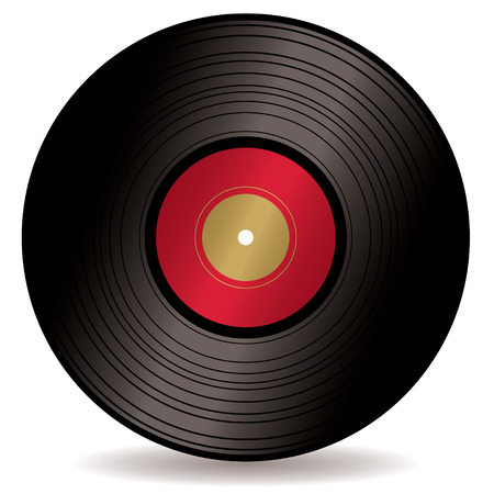 Old fashioned Long play record with red label and drop shadow