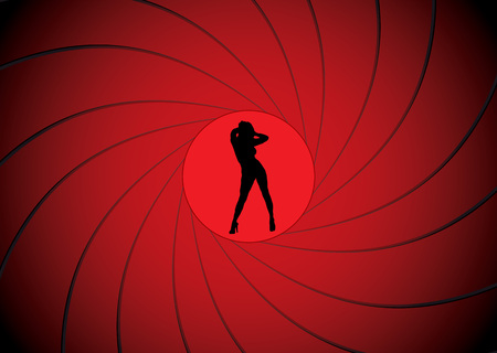 제임스 본드처럼 총구 광경에서 춤을 추는 섹시한 여성 일러스트