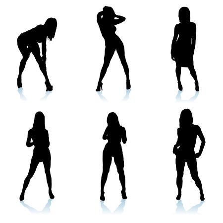 六つのセクシーな女性の影と異なる位置にポーズ