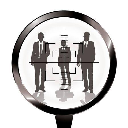 Three businessmen in a gun sight with shadow effect Standard-Bild
