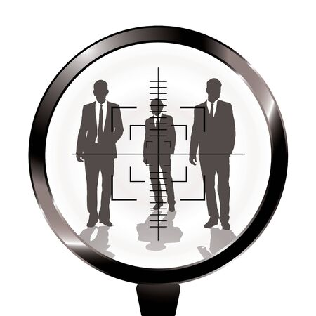 gun sight: Three businessmen in a gun sight with shadow effect Stock Photo