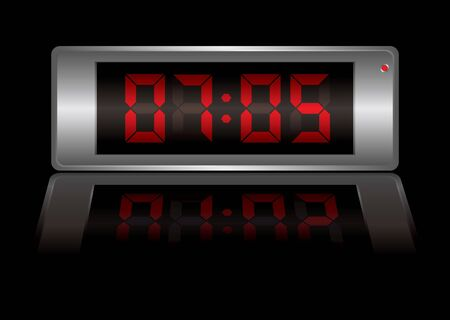 digital alarm clock with time to wake up and light reflection photo
