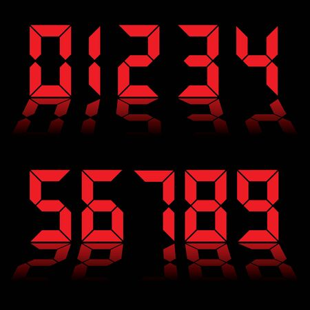 Red digital clock readout with numbers reflected in black background photo