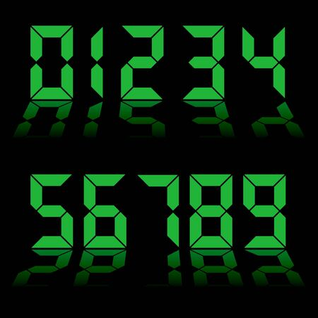 one to nine digital numbers in green with reflection in black background photo