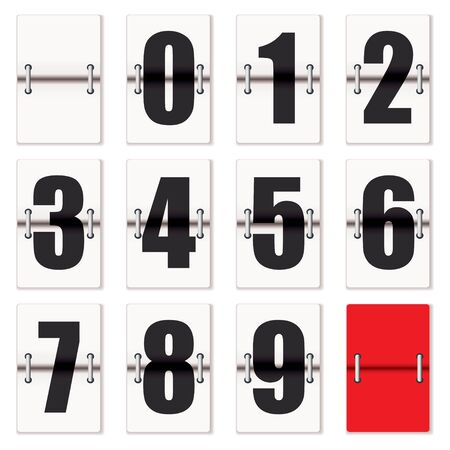 Number cards with counter flaps as used on train time tables Standard-Bild