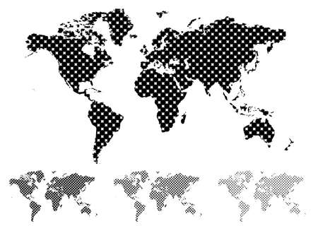 Black and white halftone map of the world with different tint values Stock Photo - 6460996