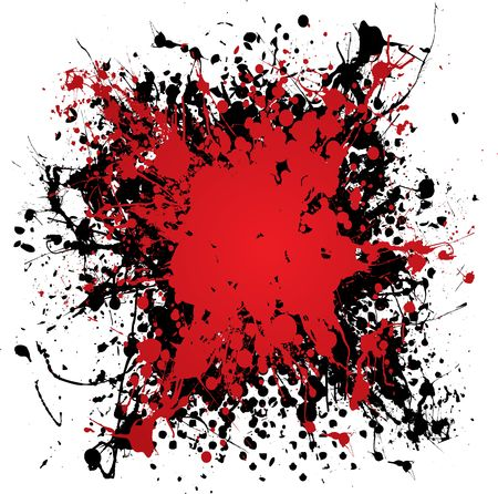 Blood red ink splat with black paint and grunge effect Stock Photo