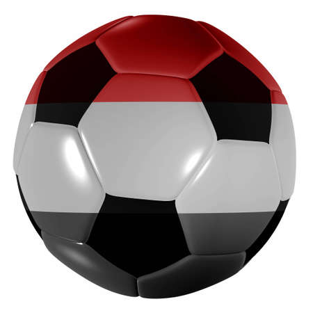 Traditional black and white soccer ball or football yemen photo