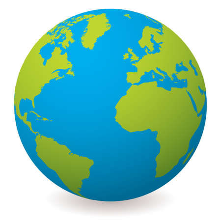 atlantic: Illustrated earth globe in realistic land and ocean colours