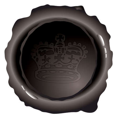 black wax seal with royal crown and light reflection photo