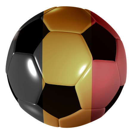 Traditional black and white soccer ball or football belgium flag photo