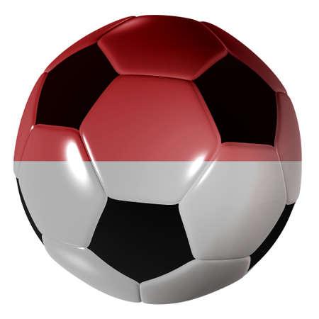 Traditional black and white soccer ball or football monaco flag photo