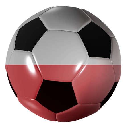 polish flag: Traditional black and white soccer ball or football polish flag Stock Photo