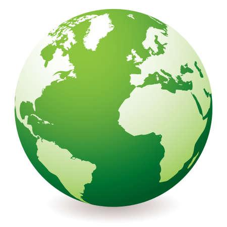 green planet earth showing a green globe with drop shadow Standard-Bild