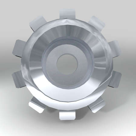 Silver metal gear or cog with teeth and shadow photo