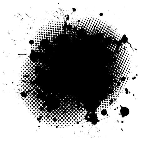 Black ink splat background with halftone dots and copy space photo