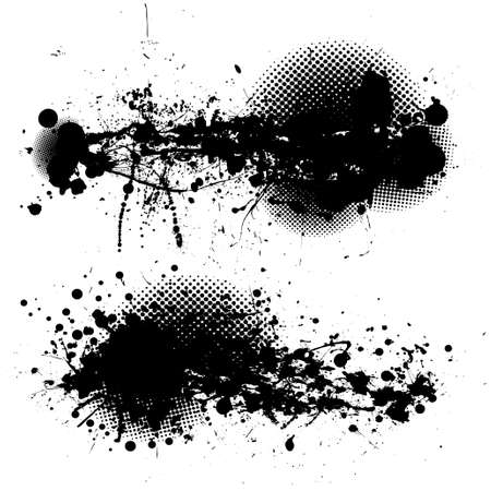 two black ink splats with halftone dots and white background Stock Photo