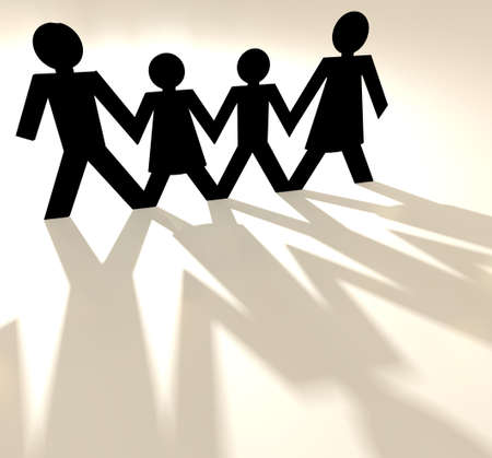 Four people family group holding hands as paper cut out photo