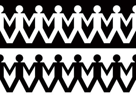 String of paper chain men in black and white ideal border holding hands Standard-Bild